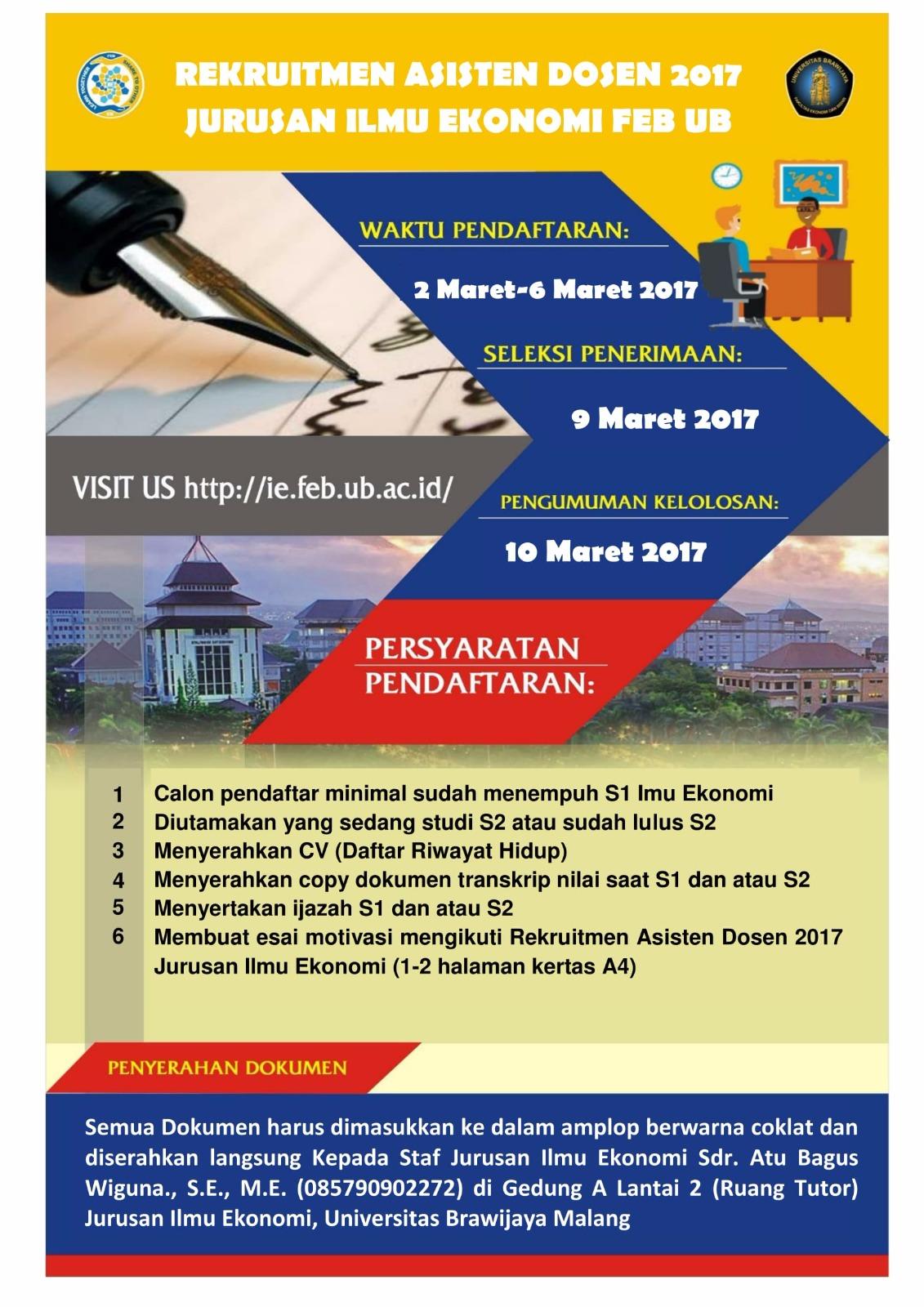 Recruitment Asistan Dosen 2017 Jurusan Ilmu Ekonomi